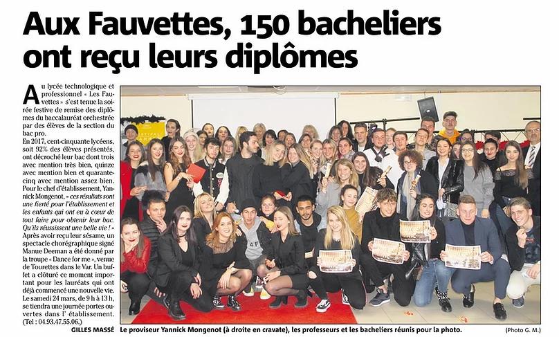 Article sur le Lycée Les Fauvettes et ses bacheliers