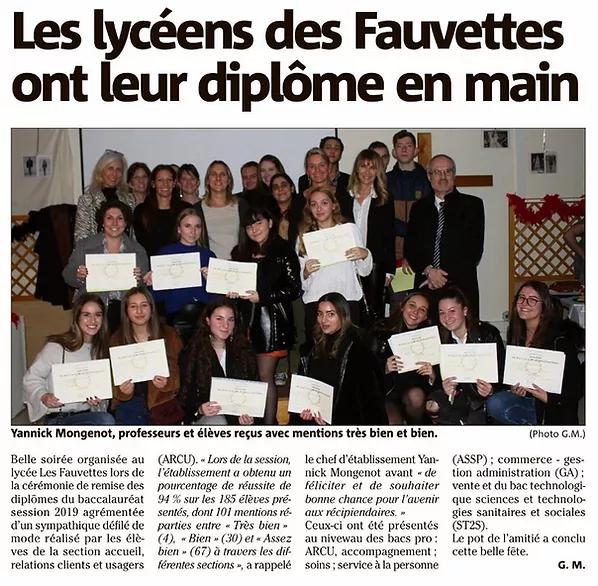 Article sur la remise des diplômes du Lycée Les Fauvettes