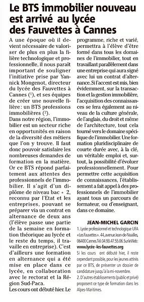 Article sur le BTS immobilier du Lycée Les Fauvettes