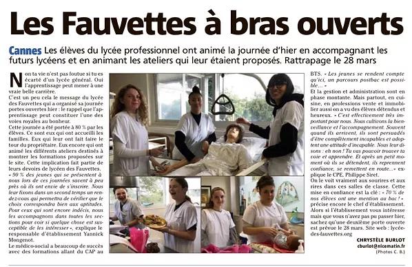 Article sur le Lycée des Fauvettes de Cannes