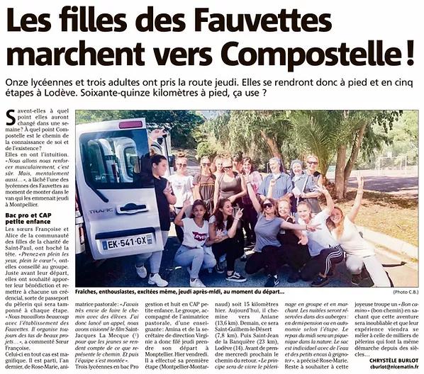 Article sur des filles du Lycée Les Fauvettes qui se rendent vers Compostelle