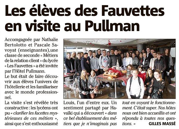 Article sur les élèves du Lycée Les Fauvettes en visite au Pullman