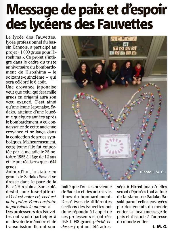 Article sur le message de paix et d'espoir des lycéens des Fauvettes