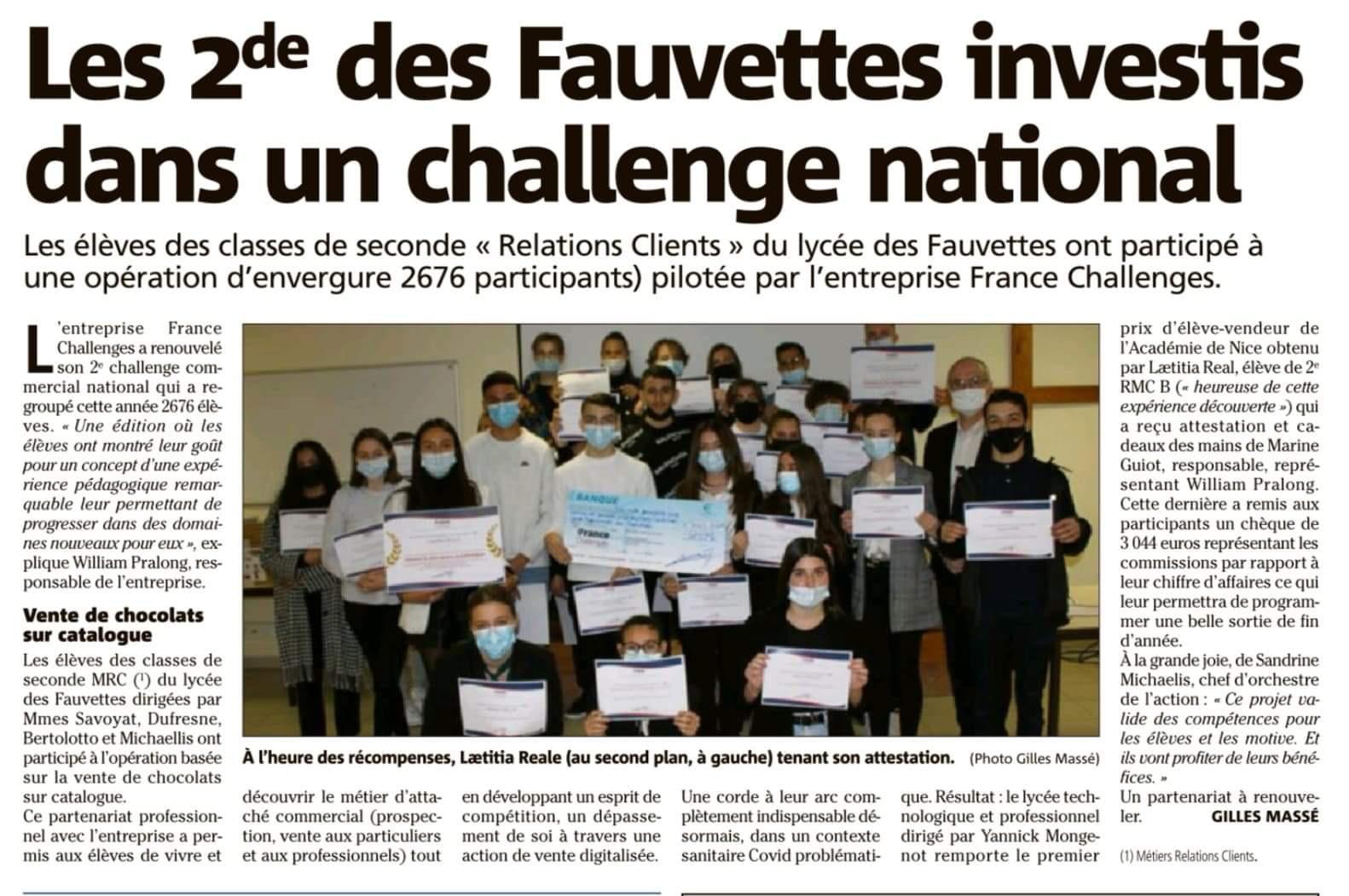 2nde MRC : remise prix France Challenges